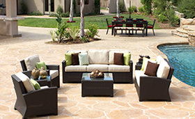 A cream and brown color mixture Bali deep seating set by Paradise Home & Patio