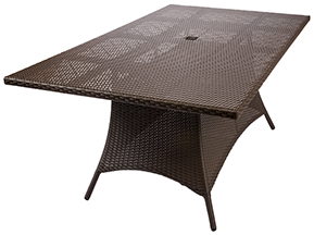 A 42inches x 76 inches bali dining table java by Paradise Home & Patio