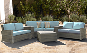 A sky blue colored Bali sectional in willow by Paradise Home & Patio