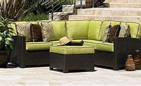 A light green Bali sectional with Ottoman in JAVA by Paradise Home & Patio