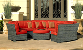 A red-colored Bali sectional with Ottoman by Paradise Home & Patio