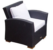 A black royal teak wicker deep seating Charleston chair by Paradise Home & Patio