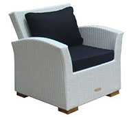 Whitewash royal teak wicker deep seating Charleston chair by Paradise Home & Patio