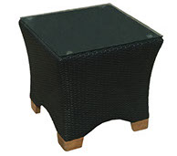 A black colored royal teak wicker deep charleson side table by Paradise Home & Patio