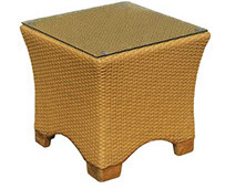 A honey-colored royal teak wicker deep charleson side table by Paradise Home & Patio