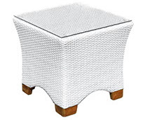 A whitewash colored royal teak wicker deep Charleson side table by Paradise Home & Patio