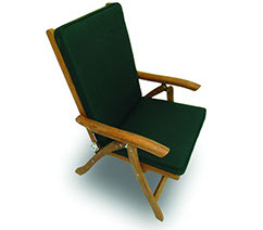 A green-colored royal teak full back cushion by Paradise Home & Patio