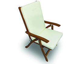 An off white colored royal teak full back cushion by Paradise Home & Patio