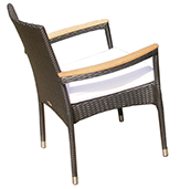 A black Helena stacking chair
