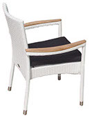 A whitewash colored Helena stacking chair