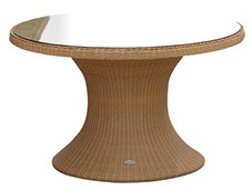 A 48-inch honey-colored Helena table