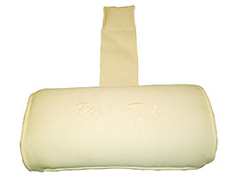 An off white colored neck roll cushion by Paradise Home & Patio