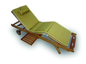 A bronze-colored royal teak sunbed cushion by Paradise Home & Patio