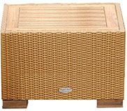 A honey-colored royal teak wicker wave side table by Paradise Home & Patio