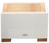A whitewash colored royal teak wicker wave side table by Paradise Home & Patio