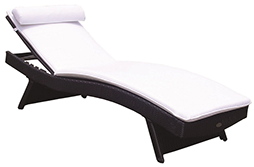 A black colored royal teak wicker wave sunbed by Paradise Home & Patio